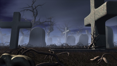 Halloween night in a gothic cemetery