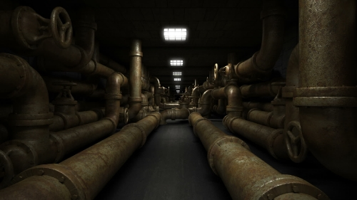 Industrial underground dark and horror tunnel with old piping system