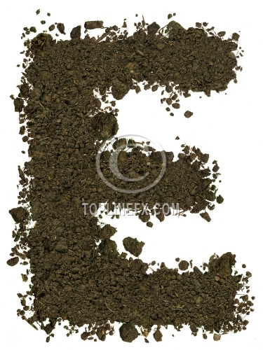 Alphabet of soil. Block capitals. Letter E