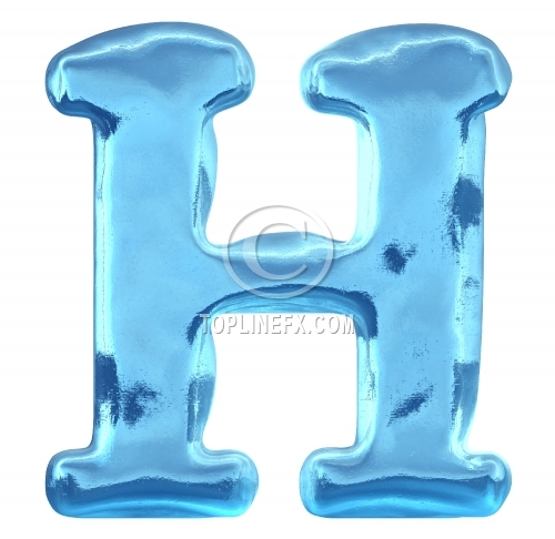 Blue ice alphabet letter h