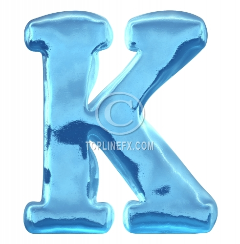 Blue ice alphabet letter k