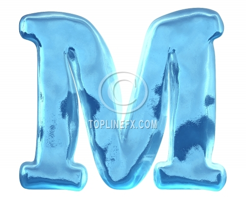 Blue ice alphabet letter m