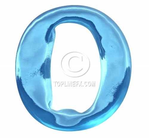 Blue ice alphabet letter o