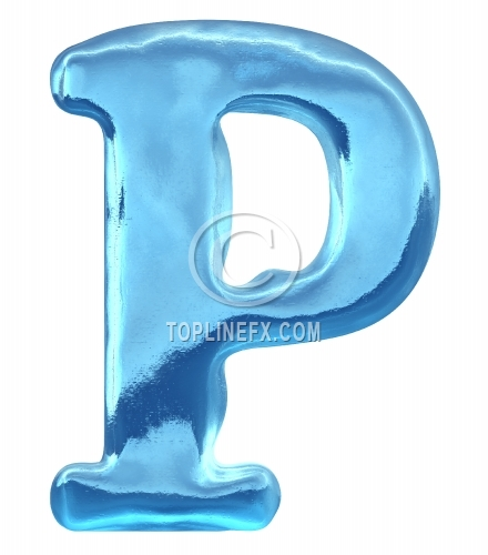 Blue ice alphabet letter p