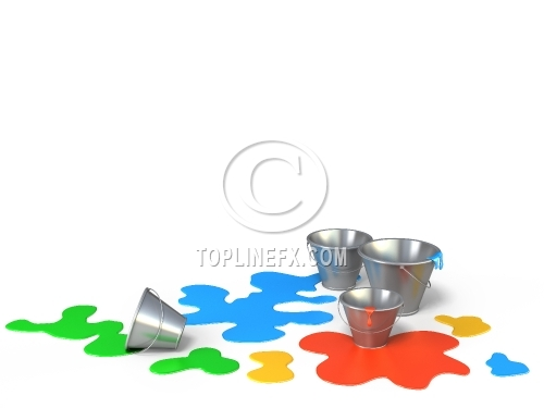 Buckets with different colors paint on a white background.