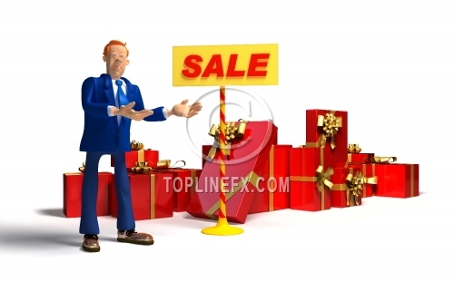 Cartoon salesman showing different gifts