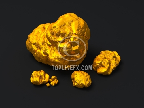 Closeup golden nuggets on black background. Finance 3d illustration