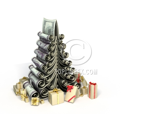 Conceptual fantasy Christmas fur-tree made of paper dollars