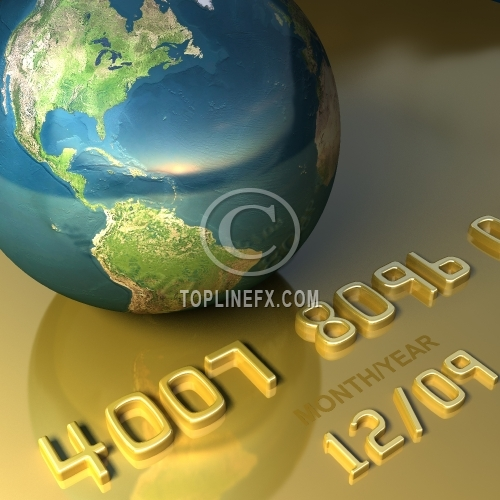 Credit card and globe