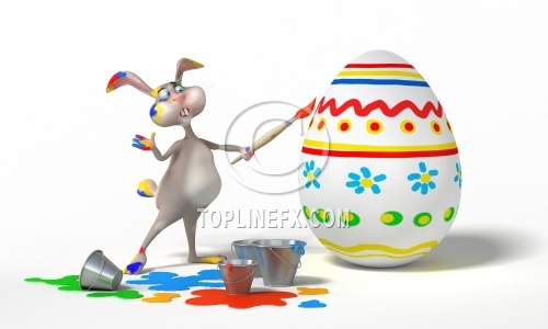 Easter Bunny paints egg 02
