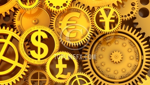Fantasy golden clockwork with currency sign