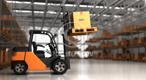 Forklift in warehouse with container