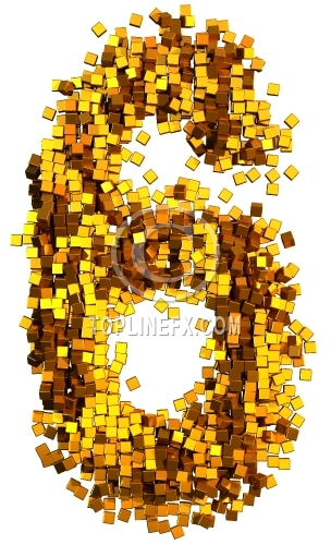 Glamour  gold cubes Number 6
