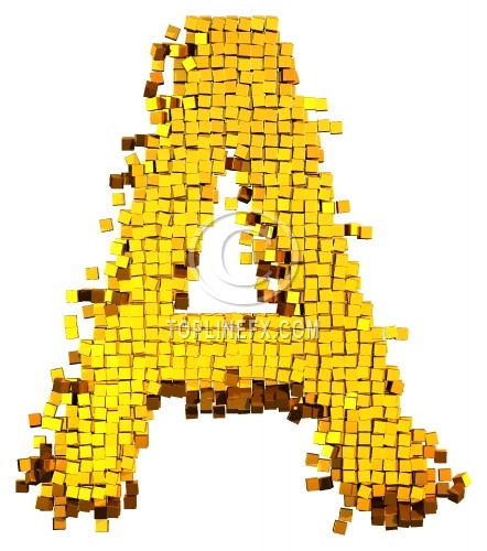 Glamour Alphabet made from gold cubes Letter A