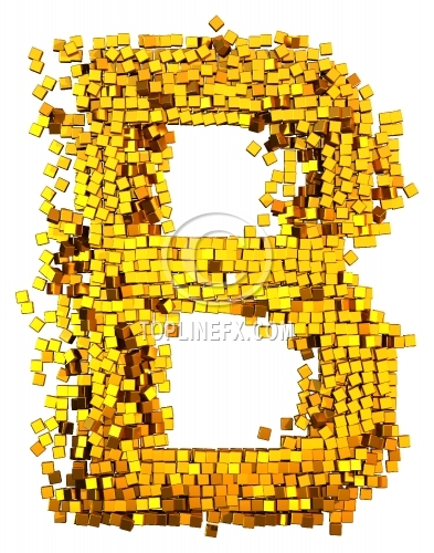 Glamour Alphabet made from gold cubes Letter B