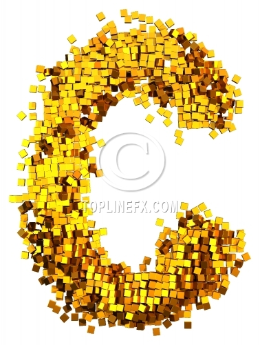 Glamour Alphabet made from gold cubes Letter C