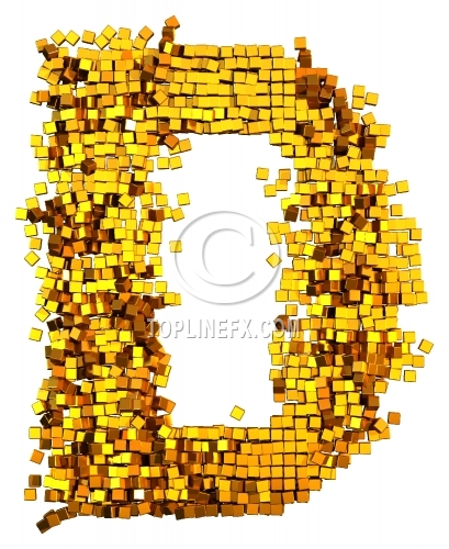 Glamour Alphabet made from gold cubes Letter D