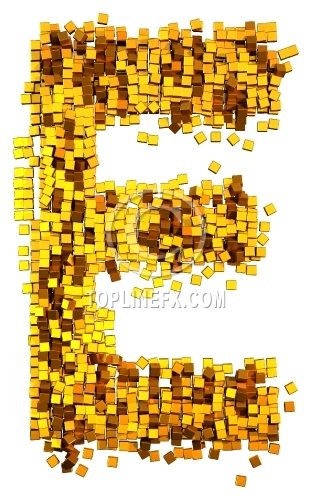 Glamour Alphabet made from gold cubes Letter E