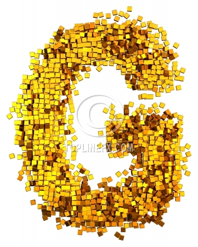 Glamour Alphabet made from gold cubes Letter G