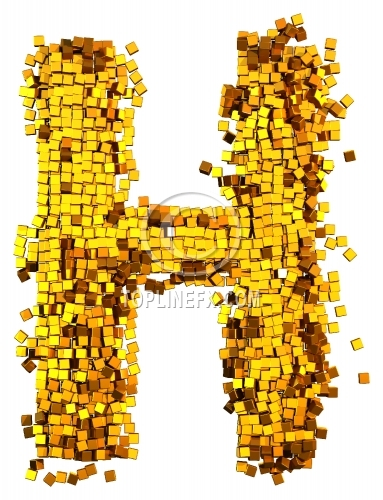 Glamour Alphabet made from gold cubes Letter H