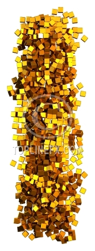Glamour Alphabet made from gold cubes Letter I