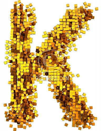 Glamour Alphabet made from gold cubes Letter K