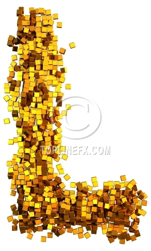 Glamour Alphabet made from gold cubes Letter L