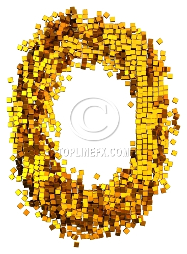 Glamour Alphabet made from gold cubes Letter O