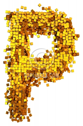 Glamour Alphabet made from gold cubes Letter P