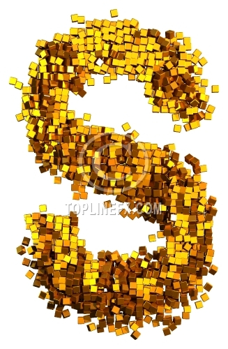 Glamour Alphabet made from gold cubes Letter S