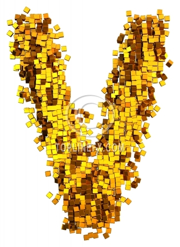 Glamour Alphabet made from gold cubes Letter V