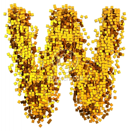 Glamour Alphabet made from gold cubes Letter W