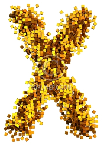 Glamour Alphabet made from gold cubes Letter X