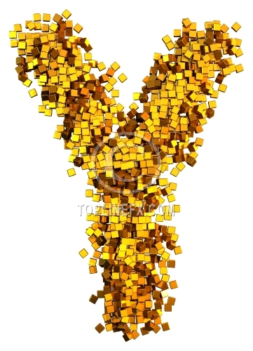 Glamour Alphabet made from gold cubes Letter Y