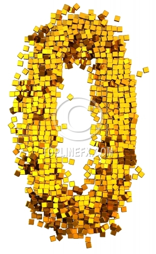 Glamour Alphabet made from gold cubes Number 0