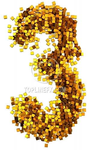 Glamour Alphabet made from gold cubes Number 3