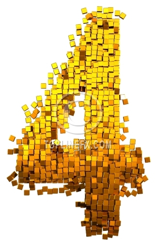 Glamour Alphabet made from gold cubes Number 4