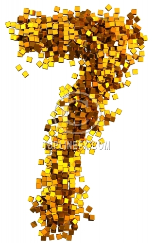 Glamour Alphabet made from gold cubes Number 7