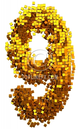 Glamour gold cubes Number 9