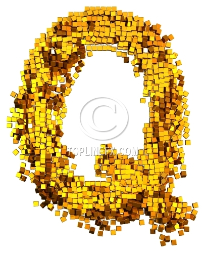 Glamour gold cubes.Letter Q