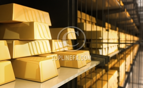 Gold bars in Bank