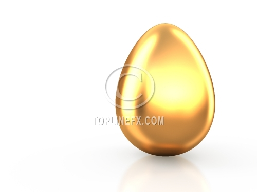 Gold Easter egg on white reflection background