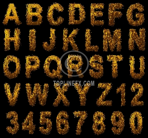 Luxury Alphabet made of gold cubes