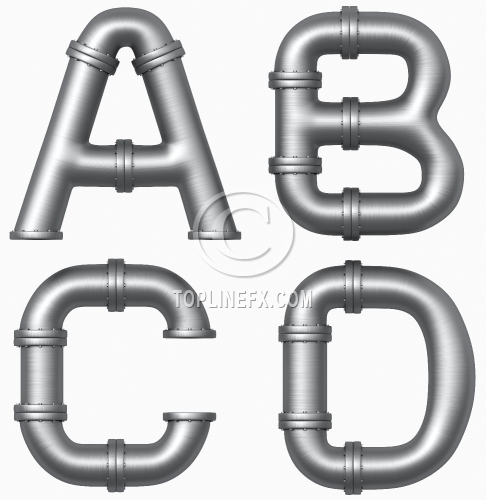 Metal pipe letters A,B,C,D