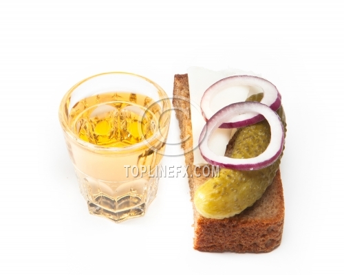 Pepper-brandy in small glass with black bread, pickled, onion and bit of lard