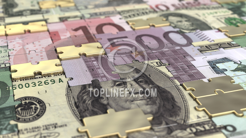 Puzzle dollar euro and gold bars