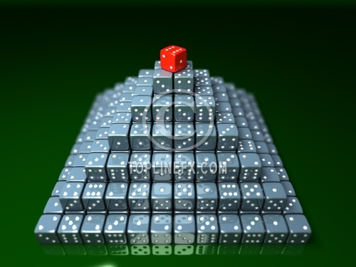 Pyramide made of dice on game table in a casino