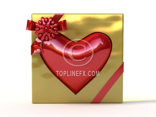 Red heart in golden gift box with ribbon and bow.