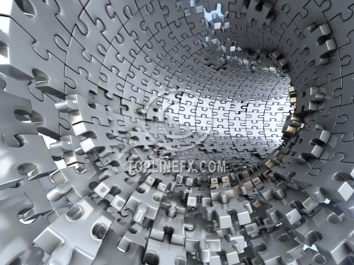 Tunnel made of metallic puzzles