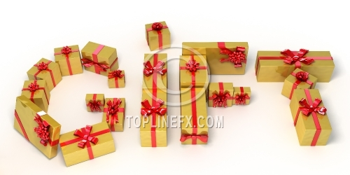 Word gift made of golden  gift boxes